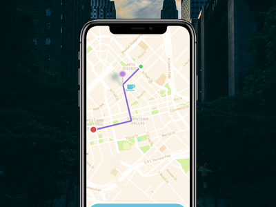 Let meet for Coffee along with way texting chat freinds city path map coffe branding ux mockup ui design