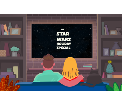 Star Wars Holiday Special Movie night star cat date night movie night sci-fi chirstmas life day star wars vector typography illustration