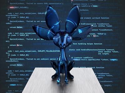 NVIDIA Studio unofficial mascot gaming programming branding tech blue logic javascript design d3 bunny code cyberpunk