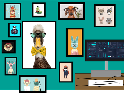 Office space computers teal vector clip art design office animals glasses