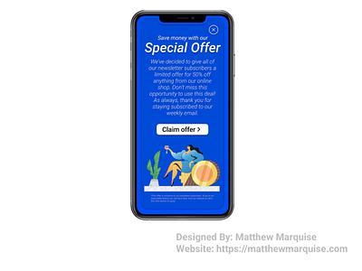 Daily UI 036 :: Special Offer mobile offer website figma web app minimal dailyui clean design ux ui