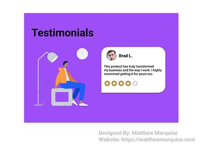 Daily UI 039 :: Testimonial dailyui039 testimonial figma web app minimal dailyui clean design ux ui