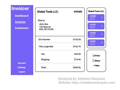 Daily UI 046 :: Invoice billing invoice software web dailyui046 app minimal dailyui clean design ux ui