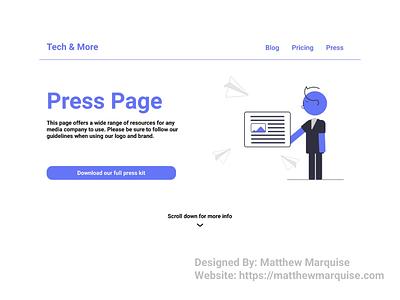 Daily UI 051 :: Press Page media press web mobile desktop dailyui051 app minimal dailyui clean design ux ui