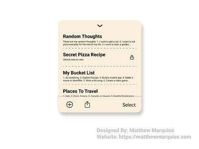 Daily UI 065 :: Notes Widget figma web notes widget dailyui065 app minimal dailyui clean design ux ui