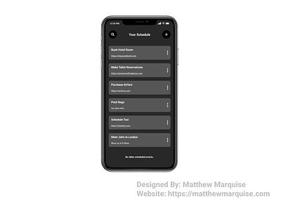 Daily UI 071 :: Schedule dark mode modern figma calendar dates planner events tasks schedule dailyui071 app minimal dailyui clean design ux ui