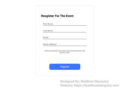 Daily UI 082 :: Form register registration form dailyui082 app minimal dailyui clean design ux ui
