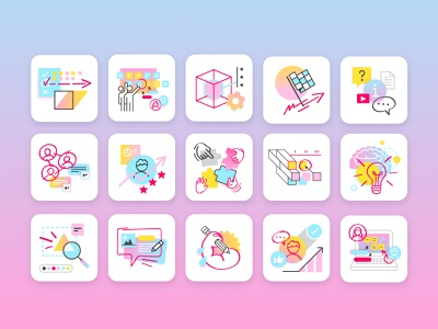 Learning Center illustration system library learning online whiteboard whiteboard remote work doodles icons iconography illustration flat collaboration design thinking