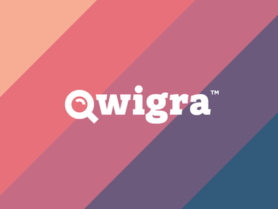 Qwigra. Mobile app identity. search loupe flat intelligent quest ios mobile app develop game design logo