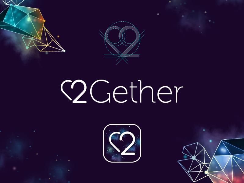 2Gether  stroke thin illustrations love 2 heart relationship ios ui identity app logo