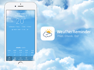 Weather Reminder develop visual identity do plan air check sun cloud weather app logo