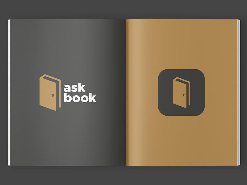 Askbook icon ios question ask gold door key book identity app logo