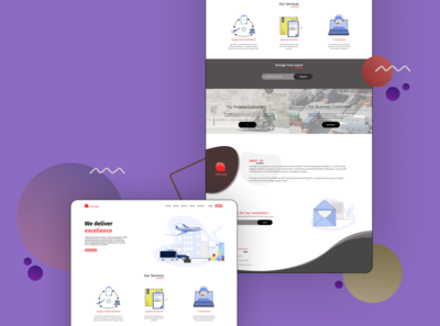 Delivery website landing page