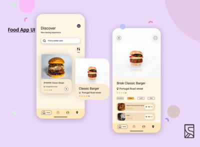 food review and reating ios app ui concept