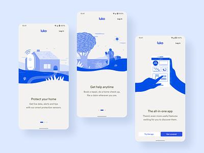 New Luko Welcome Screen • 2020 Rebranding android design system rebranding ui ux product illustration app mobile
