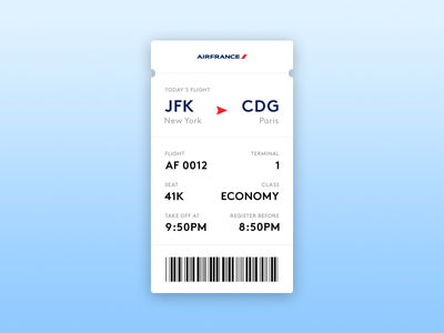 Day 24 — Boarding Pass france air pass boarding 24 024 shadow gradient day ui dailyui