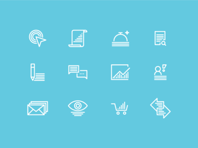 E-commerce Icons  content scroll eye cart market research remarketing acquisition customer service conversion rate vector illustration icon