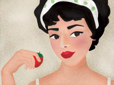 Miss strawberry illustration retro vintage texture woman fruit strawberry girl human