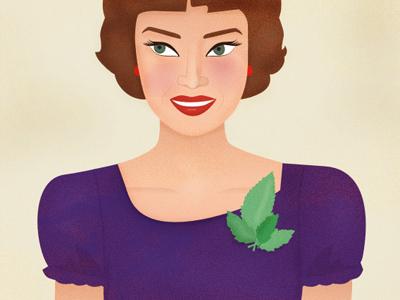 Miss Mint  illustration retro vintage texture girl woman human mint