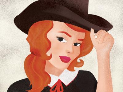 Miss Virginia vintage woman textures brushes red orange hat girl