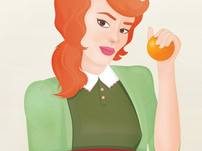 Oh my, I am ginger! retro illustration woman texture vintage lady red orange green