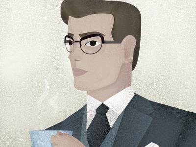 Hello Mister vintage man glasses coffee gentleman tie