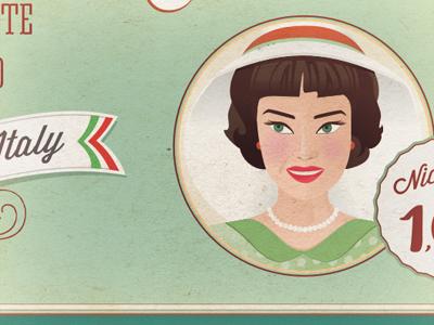 Mint flavor  vintage mint woman illustration
