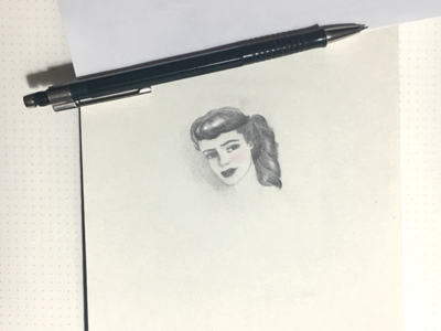 Tiny drawing  tiny pencil portrait girl sketch drawing