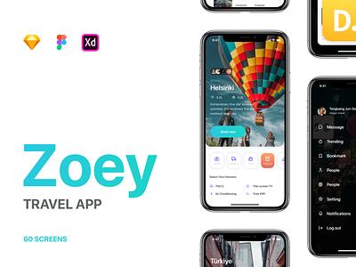 Zoey Trip - Travel App UI Kit uikits trip hangout mobile travel app ui kit discover trip tracker travel