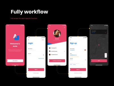 Amia - Messaging App UI Kit ios mobile ui kit communication contact chat