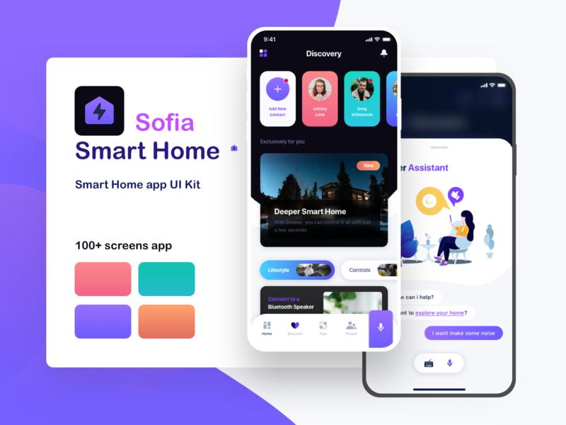 Sofia - Smart Home mobile UI kit mobile ui kit uikits uidesign uiux intelligent smart utilities 4.0 iot service security smart home minimal modern mobile ui kit mobile design