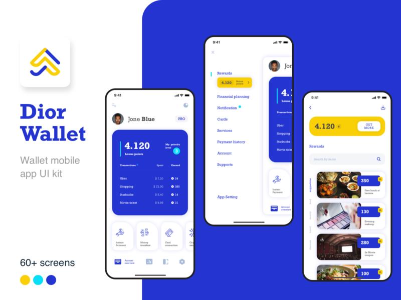 Dior Wallet -  Finance mobile app UI kit