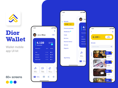 Dior Wallet -  Finance mobile app UI kit banking wallet design ui kit mobile ui kit ui mobile app fintech finance mobile design