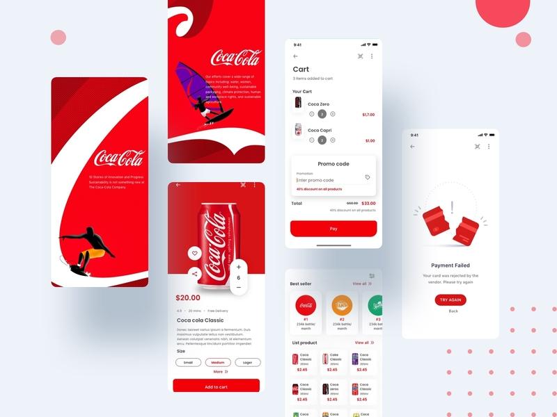 Coca Cola Challenge screen shot morden ui minimal illustration ui ux app cocacola challenge design ui kit mobile app mobile ui kit mobile design