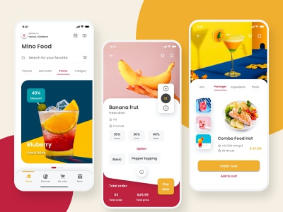 Mino Food - Food mobile app UI Kit daily challenge app mobile app design mobile uiux morden sketch restaurant food and drink food app food minimal ui design ui kit mobile app mobile ui kit mobile design