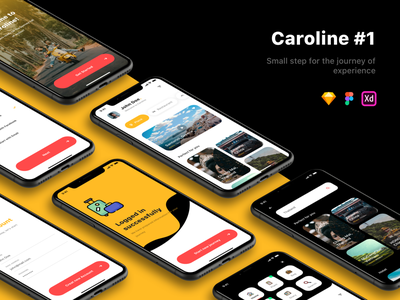 Caroline - Travel UI Kit - #1 mobile app design trip place restaurant hotel travel