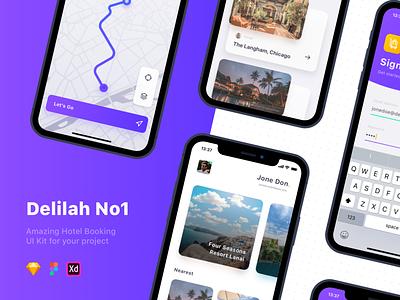 Delilah - Hotel Booking Concept mobile app mobile design mobile ui kit uidesign adventure trip travel app travel