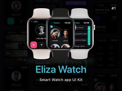 Eliza - Apple Watch UI Kit time clean ui smartwwatch smart uidesign uiux small watch inspiration ui kit sketch ui morden apple minimal clean app design app smartwatch