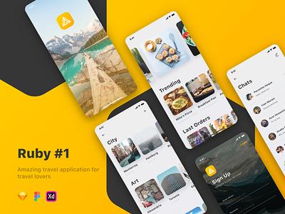 Ruby - Travel UI Kit traveling travel app restaurant hotel trip travel