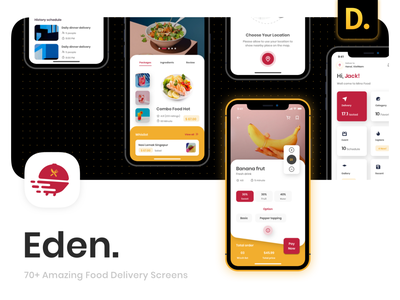 Eden - Food Delivery App UI Kit menu restaurant food app food delivery food
