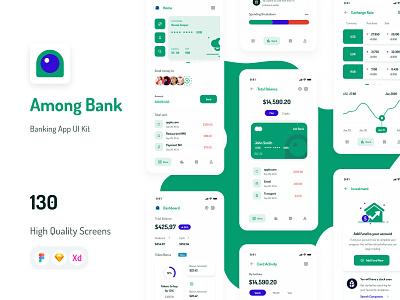 Among Bank - Banking App UI Kit mobile ui kits ui design wallet banking clean morden app minimal fintech finance design ui mobile app ui kit mobile ui kit mobile design