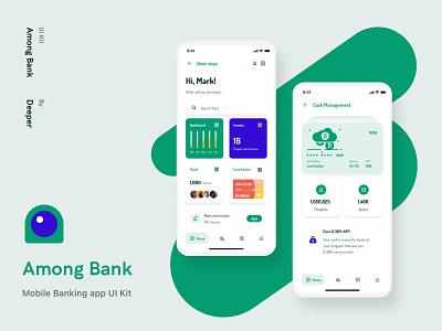 Among Bank - Mobile Banking UI Kit banking app wallet ui minimalistic clean design inspiration app ui figma app design morden app 4.0 minimal fintech finance ui kit design ui mobile app mobile ui kit mobile design
