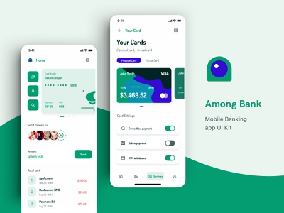 Among Bank - Mobile Banking UI Kit inspiration app design banking walletapp uikit wallet morden app 4.0 minimal finance design ui mobile app mobile ui kit mobile design