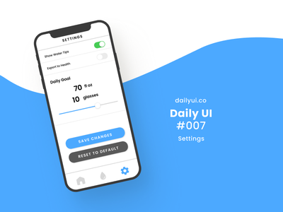 Settings Daily UI #007 settings ui water mobile ios interface settings uidesign ui figma 2020 hong kong design daily ui challenge dailyuichallenge daily ui dailyui