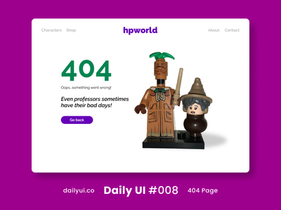 404 Page Daily UI #008 lego art direction website harry potter 404 error 404 page 404 uidesign ui figma 2020 hong kong design daily ui challenge dailyuichallenge daily ui dailyui
