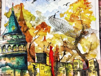 galata tower  watercolor sumerian oldholand ink god galatatower diamine davinchibrush color