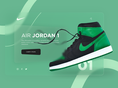 Nike Website | Concept ux ui glass design main page online shop nike air branding 2021 trend