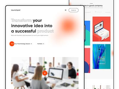 Launchpad   Website typography webdesign website orange creative design ui ux branding 2021 trend design
