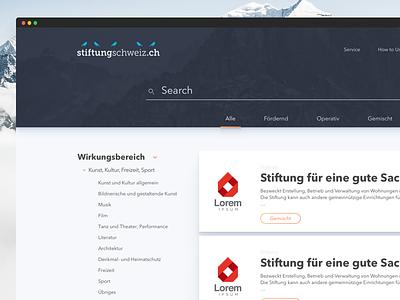 Stiftung Schweiz - Detail mountain swiss engine search
