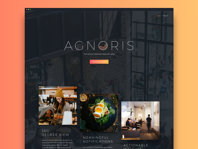 Agnoris Main Page ui dark food restaurant marketing